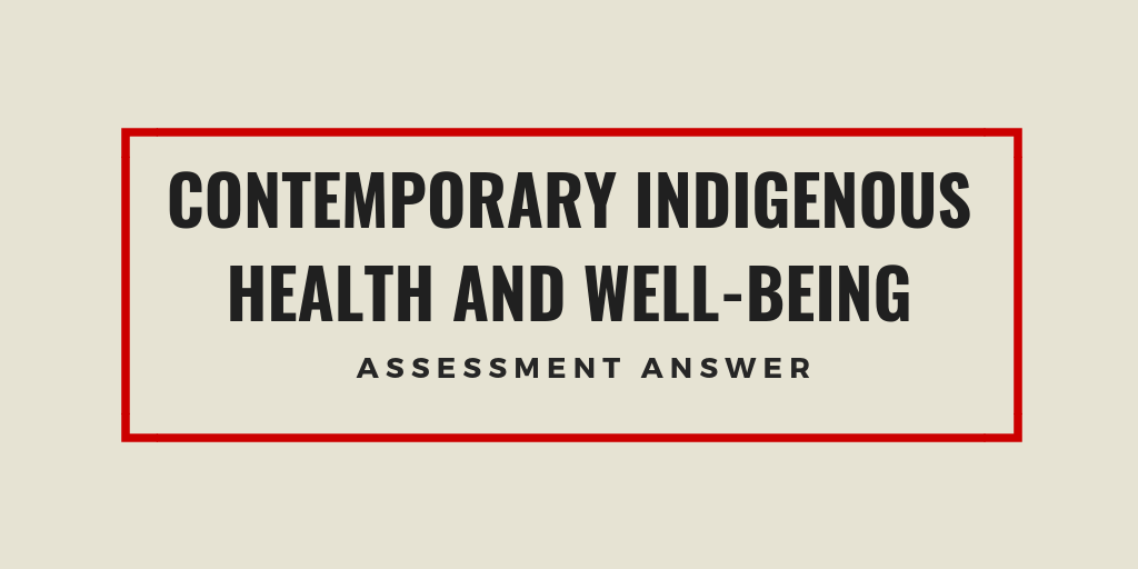Contemporary Indigenous Health & Well-Being Assignment Answer