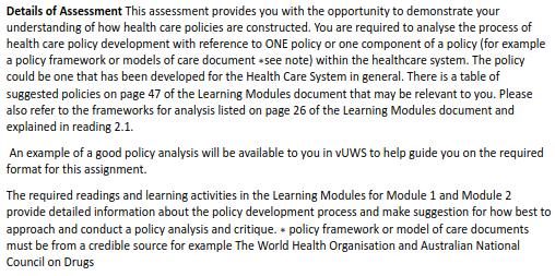 Details of Assessment