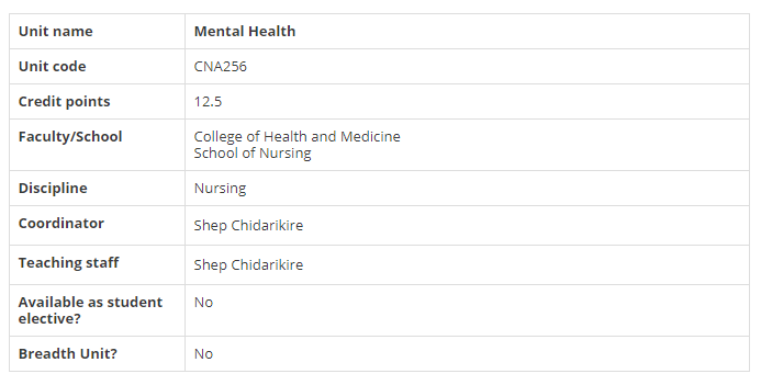 CNA256: Mental Health Unit Summary