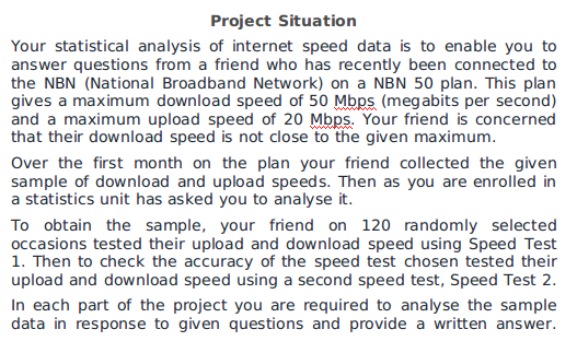 statistical analysis of internet speed