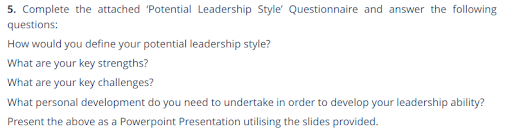 Potential Leadership Style
