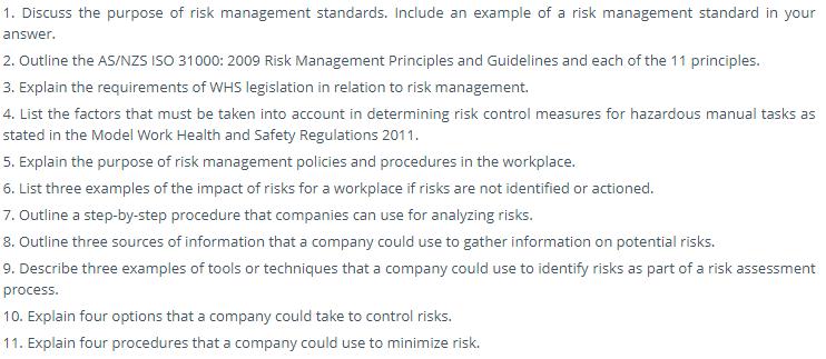 BSBRSK501 Risk Management Assignment Task 1