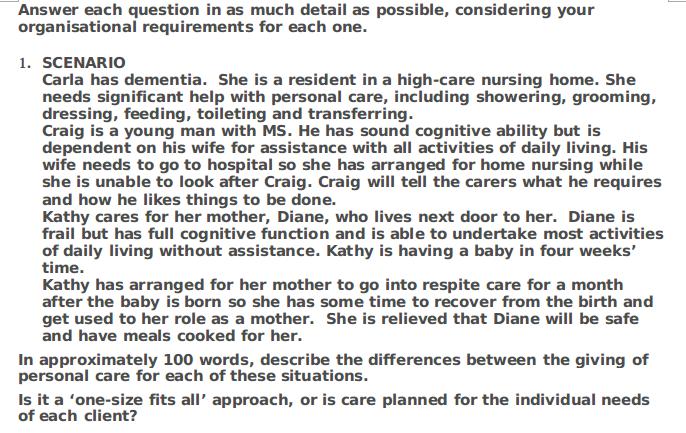 Dementia case of Carla