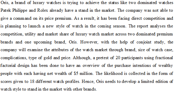 Introduction Sample for Luxury Watch Market Case Study