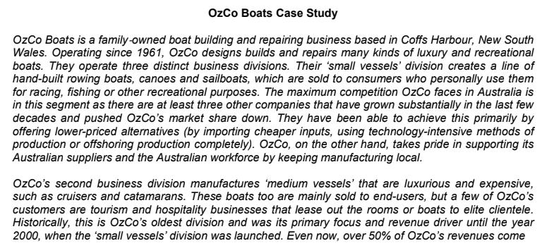 OzCo boats case study