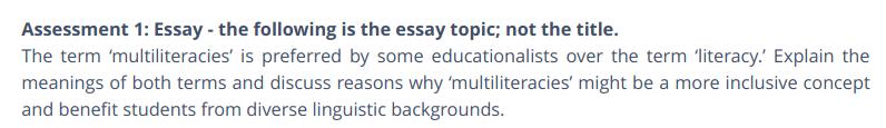 Assessment 1: Essay