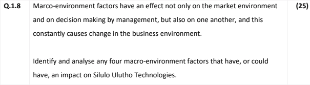 macro-environment factors associated with business organisations