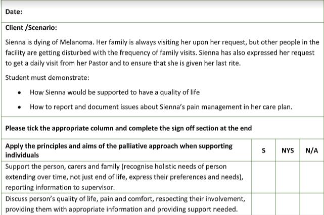 Melanoma case in nursing