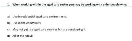 Working with aged people