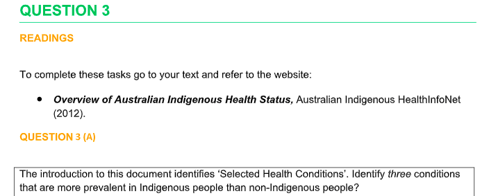 Overview of Australian Indigenous Health Status