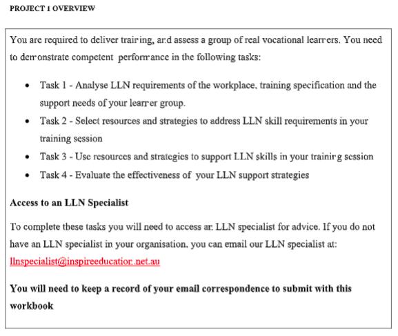TAELLN411 Practical Assessment