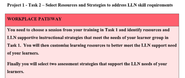 strategies that support the needs of the assessors