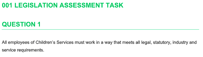 CHCCS400C Legislation Assessment Task