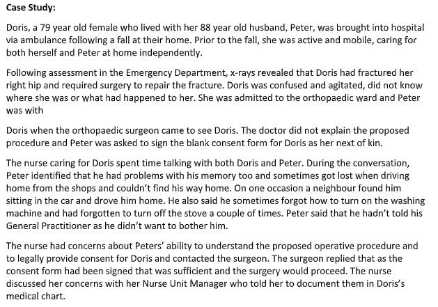 Patient Doris nursing case study