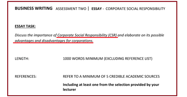 Essay assignments on importance of CSR