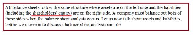 Analysis of a balance sheet
