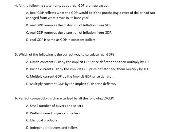 Economics Online Quiz Questions
