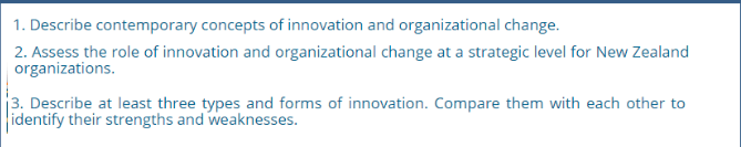 Assignment on innovation and organisational change