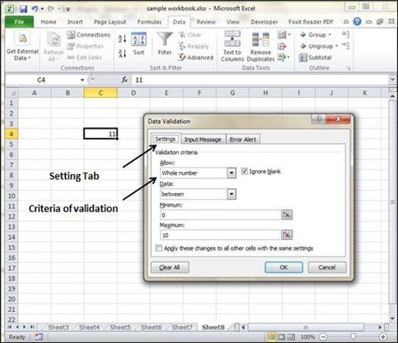 Settings Tab in Excel