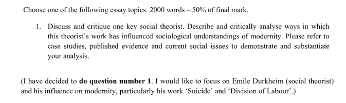Social theories Assignments