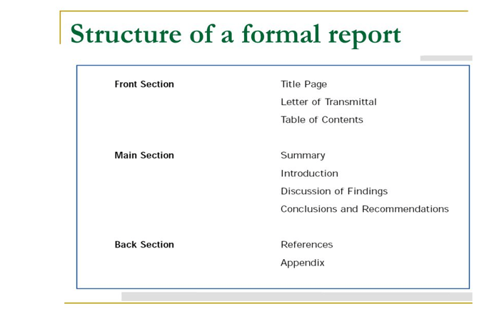 structure of a report