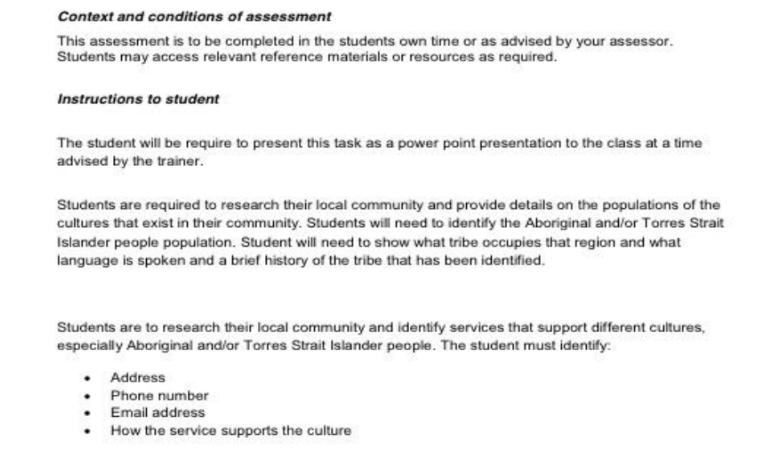 Studies centric aboriginal assignment sample