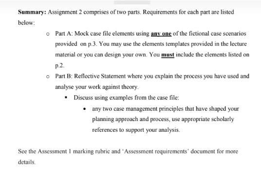 Human Service Case Management Assignment Sample
