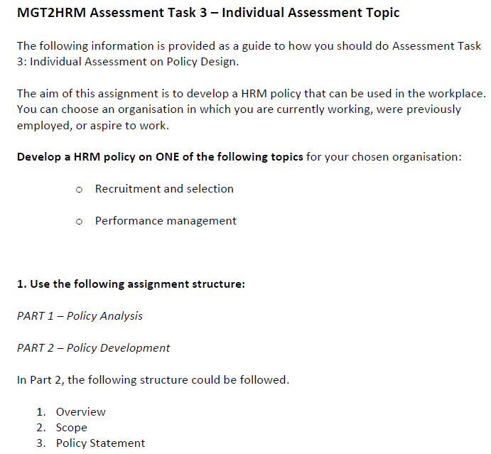 MGT2HRM Assignment Sample