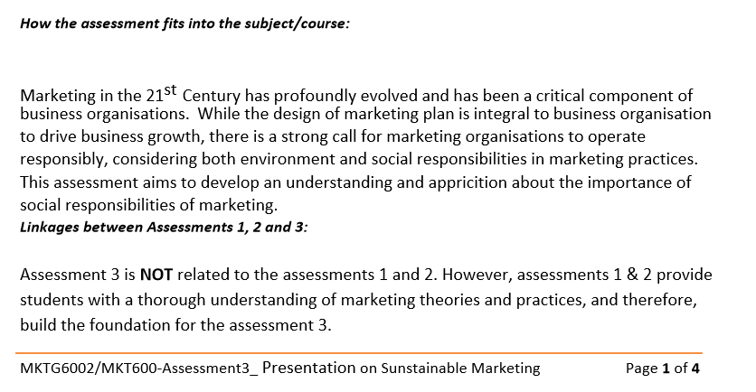MKT600 Sustainable Marketing Assignment Sample2