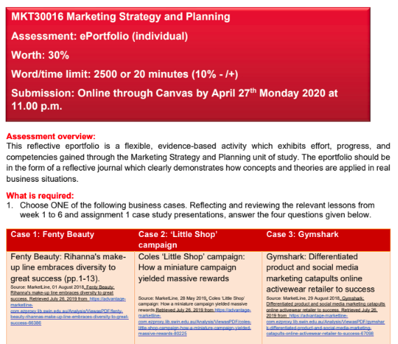MKT30016 Marketing Strategy and Planning E-Portfolio Assessment Sample