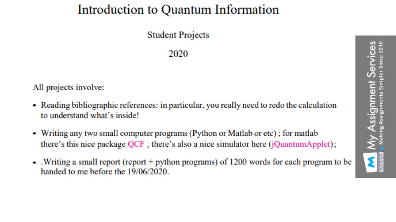 Quantum Mechanics Assignment Help in Australia