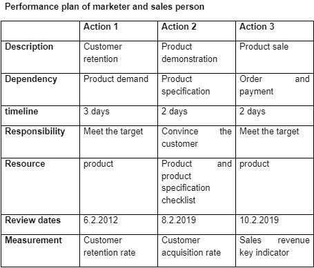 performance plan of marketer and sales person
