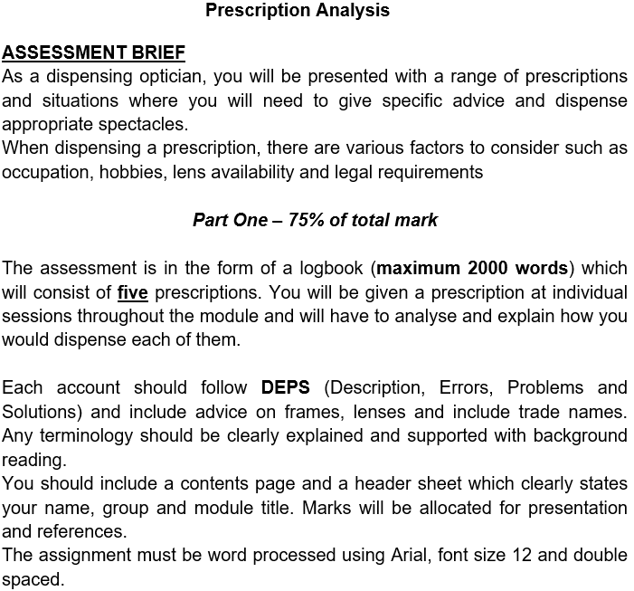 ophthalmology assessment sample