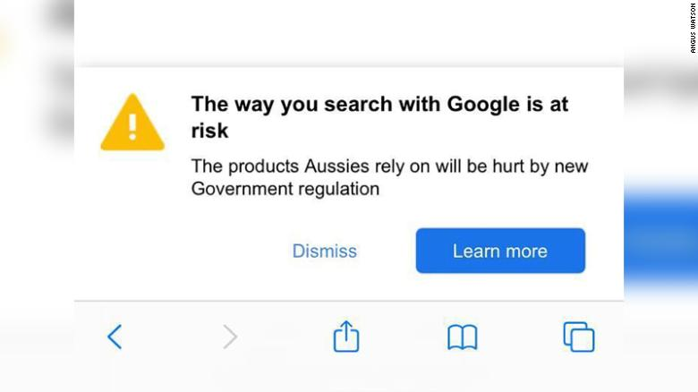 screen-shot of the Google message