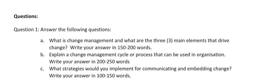 change management assessment sample