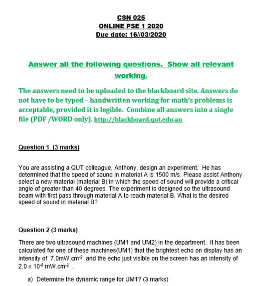 Acoustics Assignment Questions