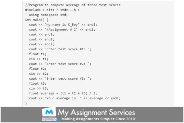 c++ homework samples 1