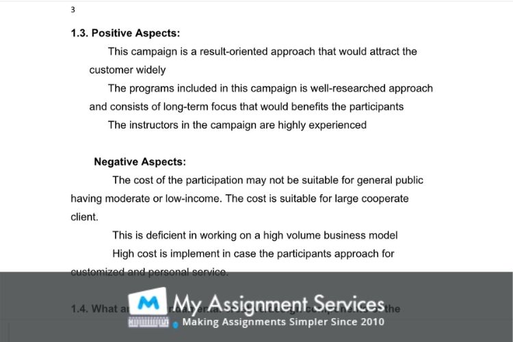advertising assessment sample