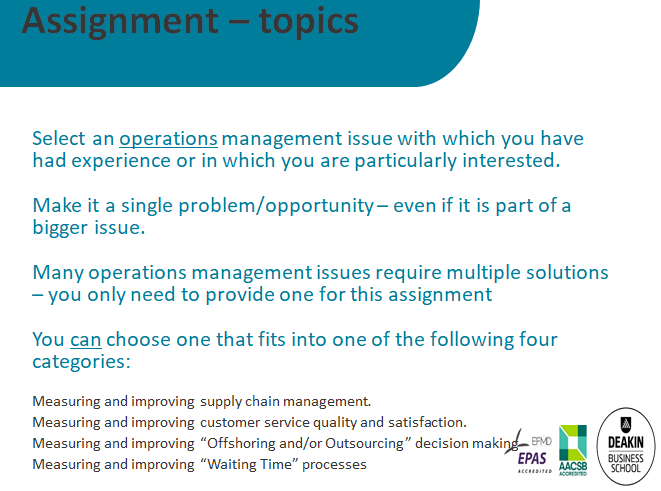 MBA Operations Management Assignment Sample