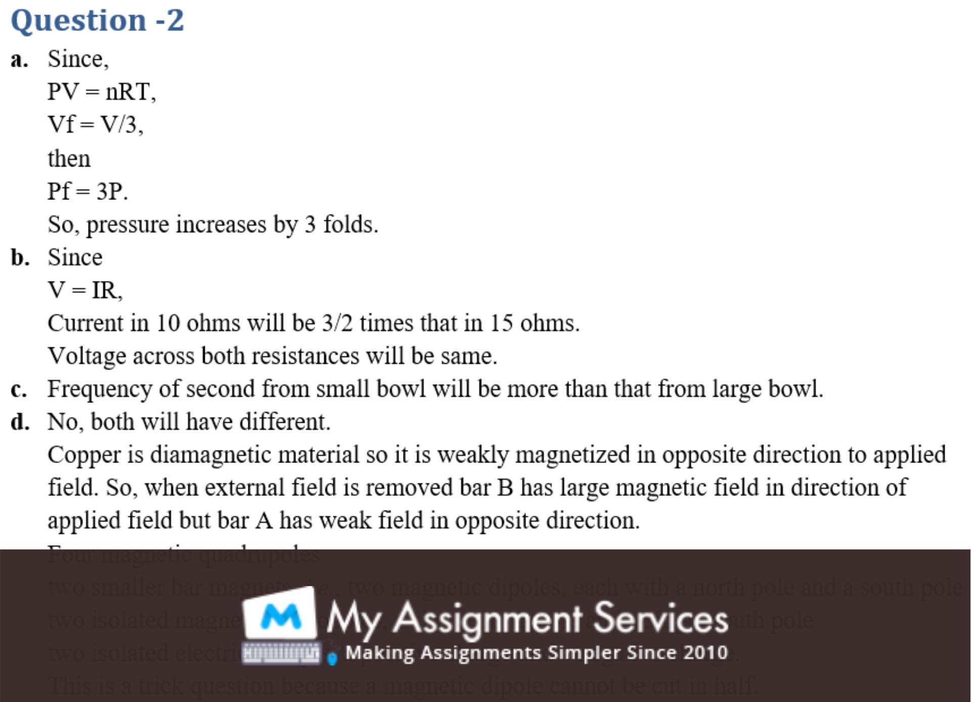 physics homework assessment sample 4