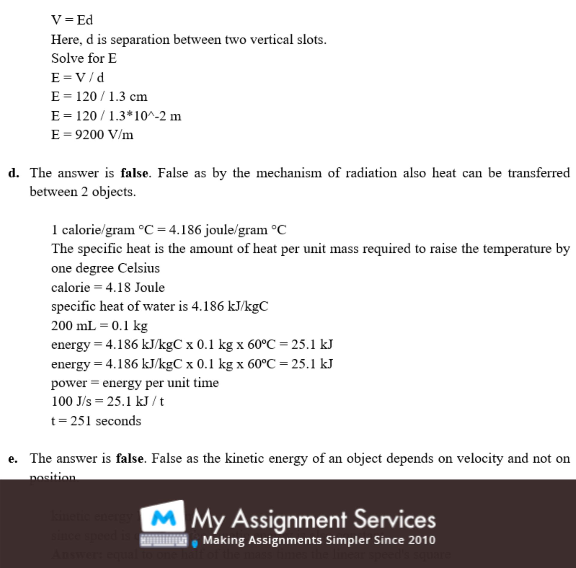 physics homework assessment sample 3