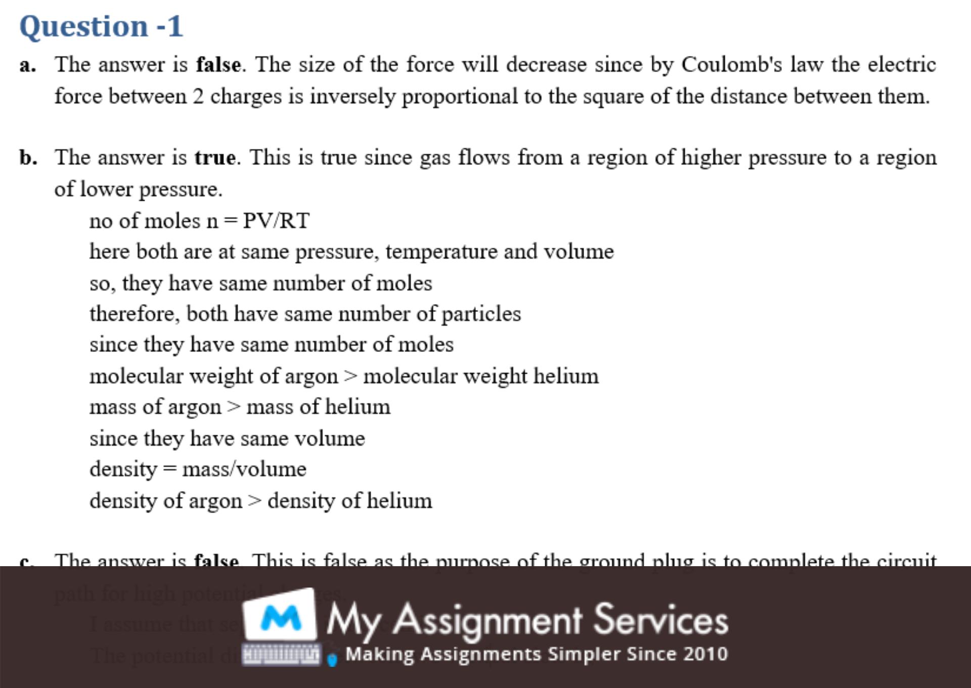 physics homework assessment sample 2