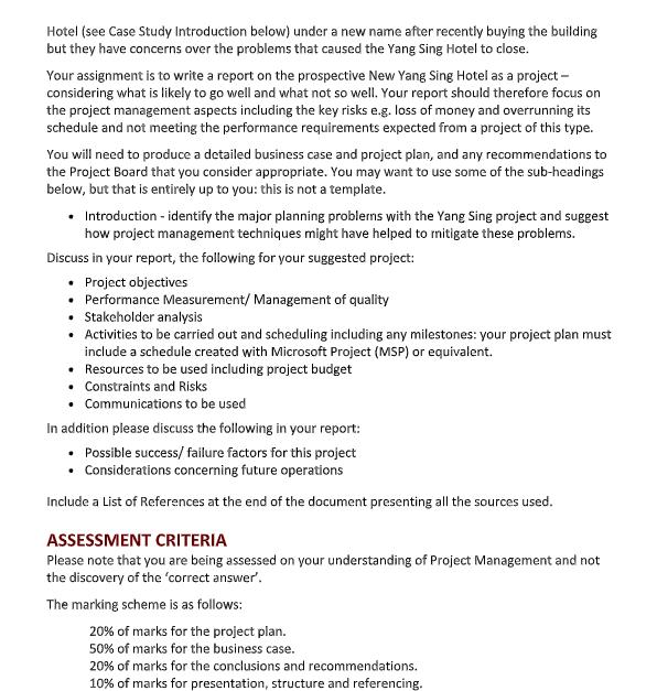 project management homework assessment sample 2