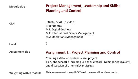 project management homework assessment sample