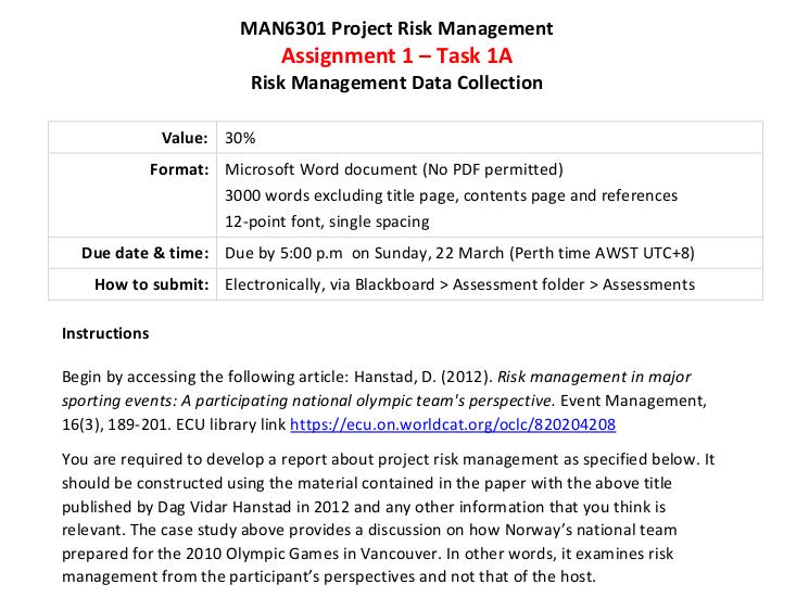 risk management homework assessment sample