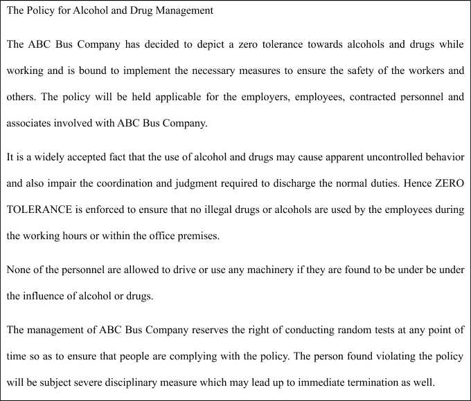 Policy for alcohol and drug management