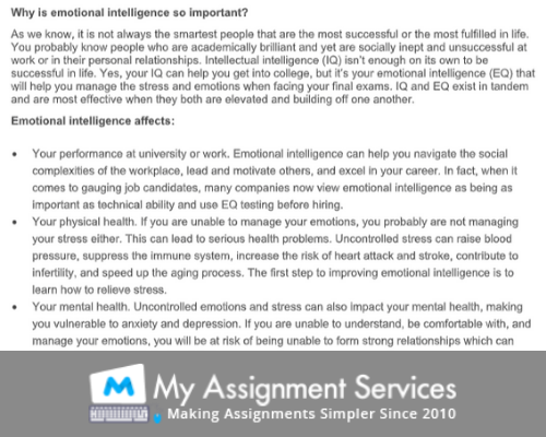 Social And Emotional Learning Assignment Sample