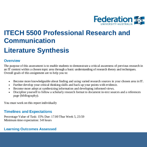 ITECH5500 Professional Research