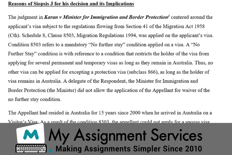 Immigration Law Assignment Help Sample