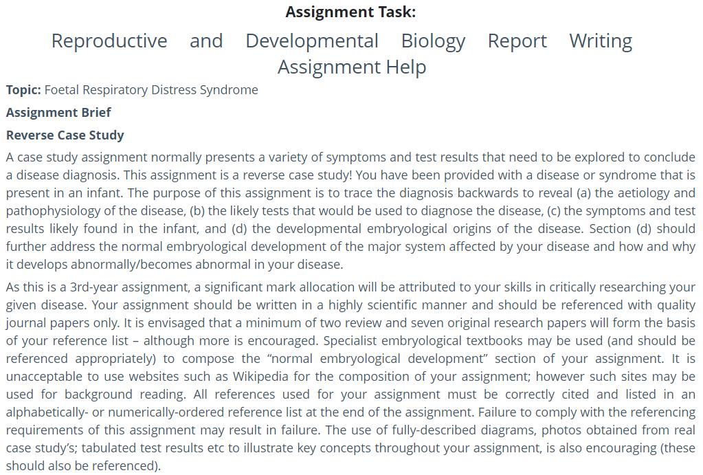 Developmental biology Assignment help